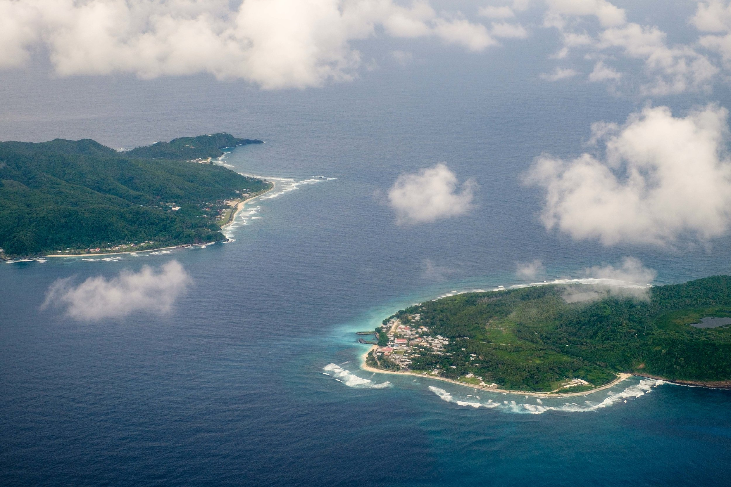 The National Park of American Samoa is located on three islands: Ta'ū, Ofu (both part of the Manu'a Islands chain); and Tutuila, location of the capital city of Pago Pago.