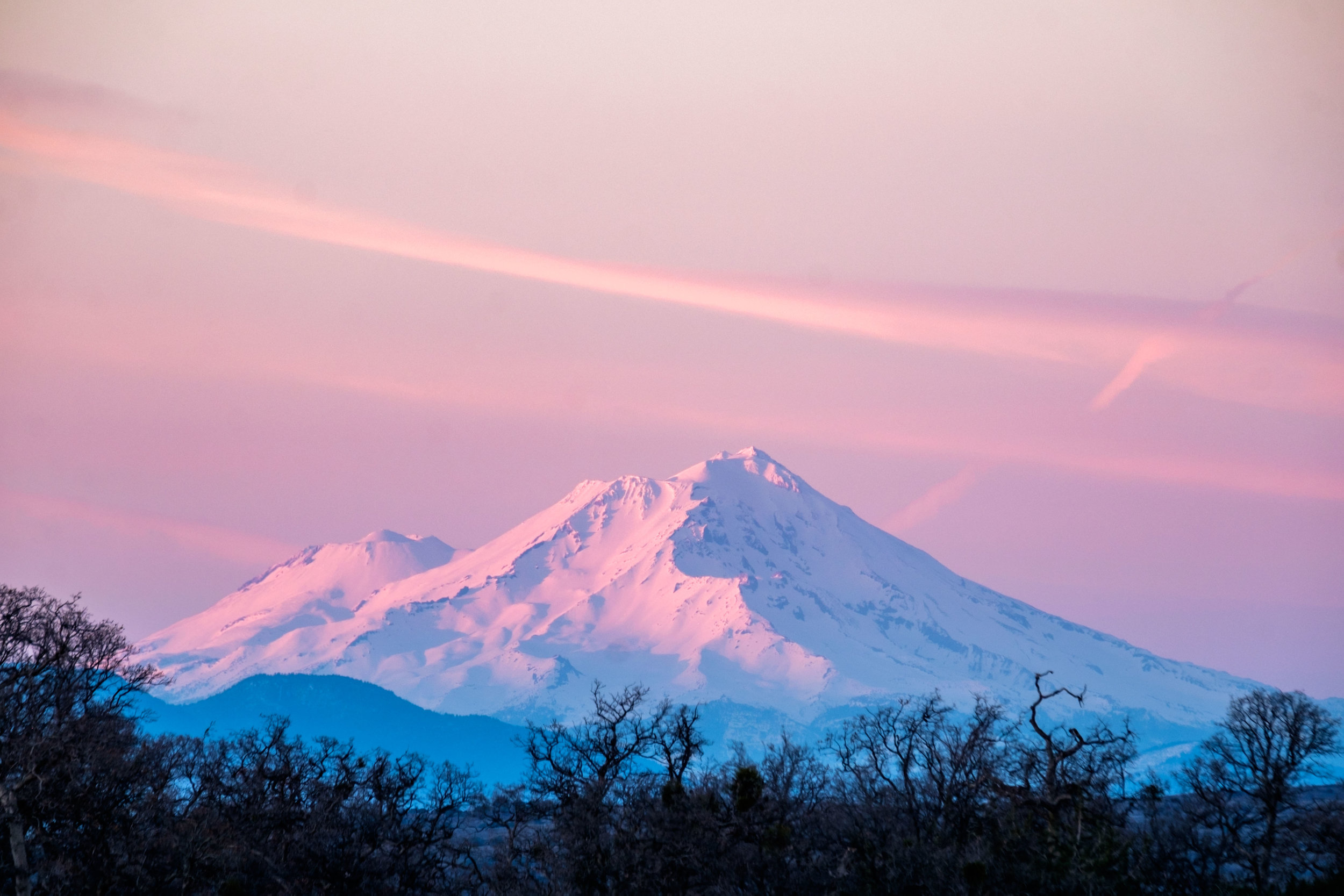 We caught this gorgeous sunset over the commanding Lassen Peak on our way out of the park.