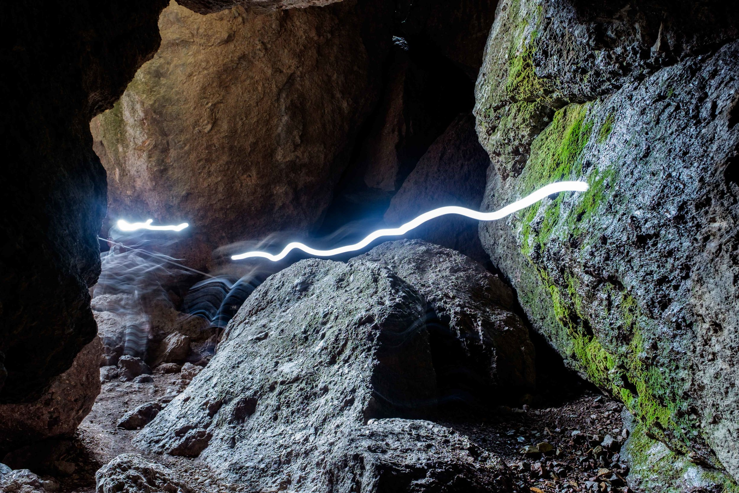 Headlamps are required, even in the middle of the day in the talus caves.