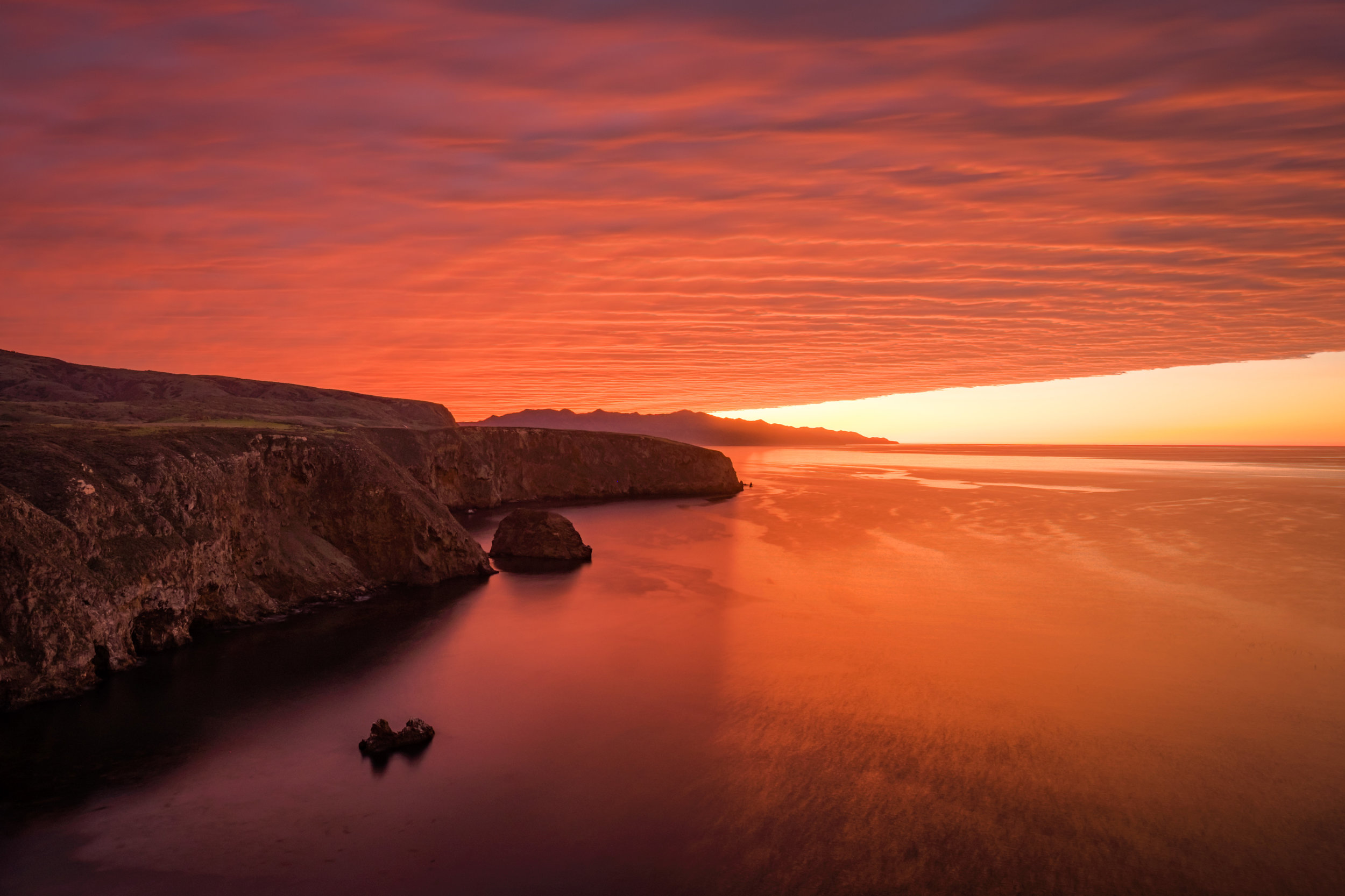 One of the most mesmerizing sunsets either of us had ever seen, from the Cavern Point overlook on Santa Cruz Island.