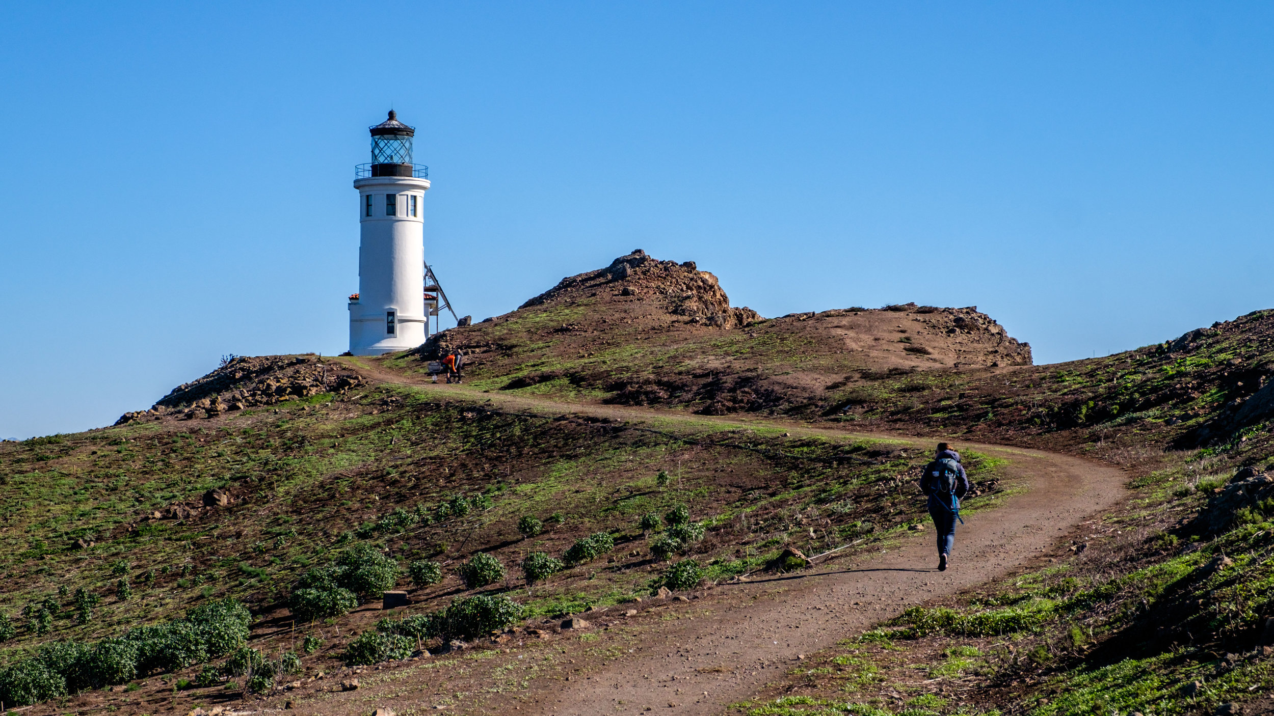 After disembarking the Island Packers ship, the first activity for many is a short hike to the Anacapa Island Light Station.