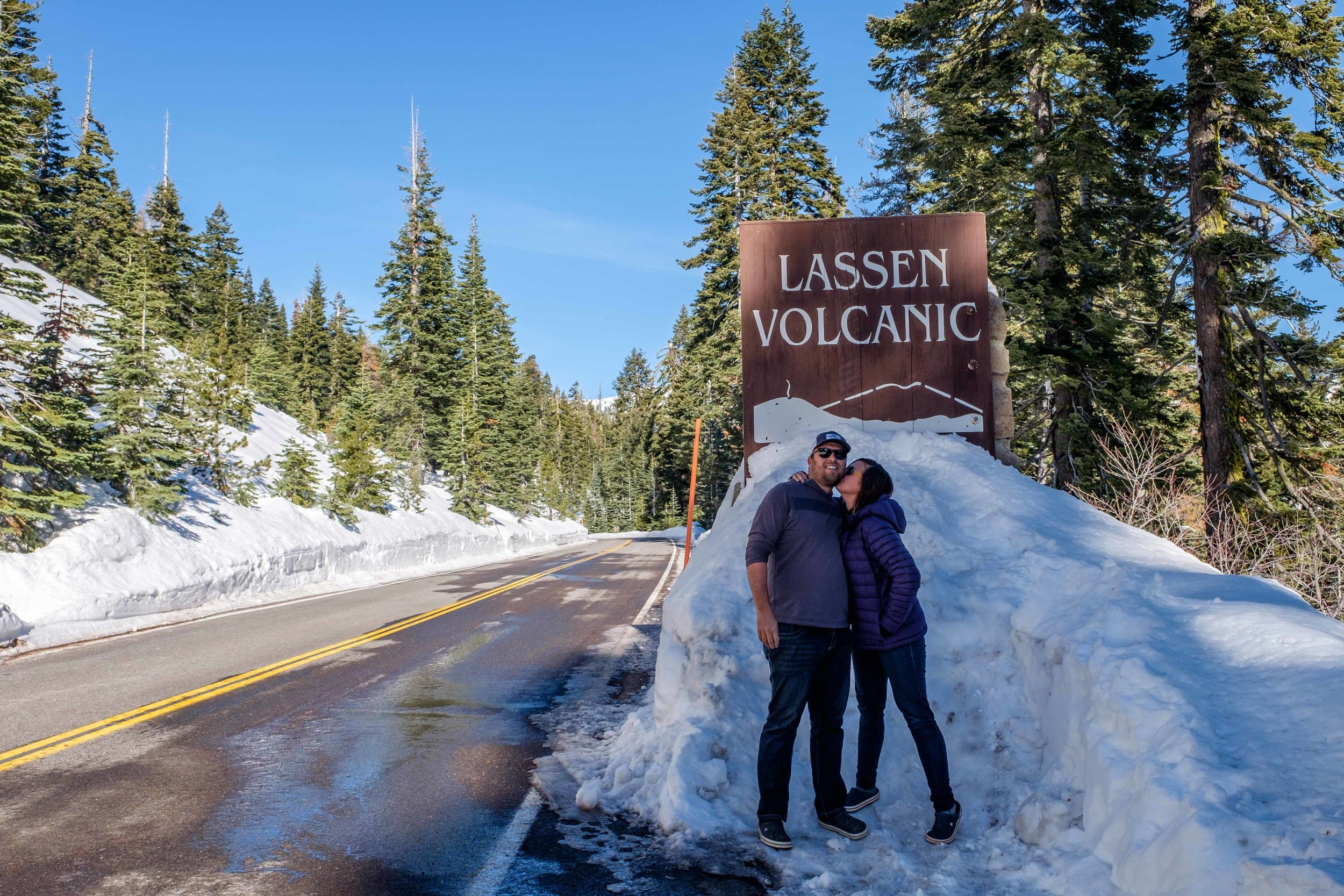 A rare share   –  a behind the scenes pic of us entering Lassen... nearing the end of our yearlong journey.