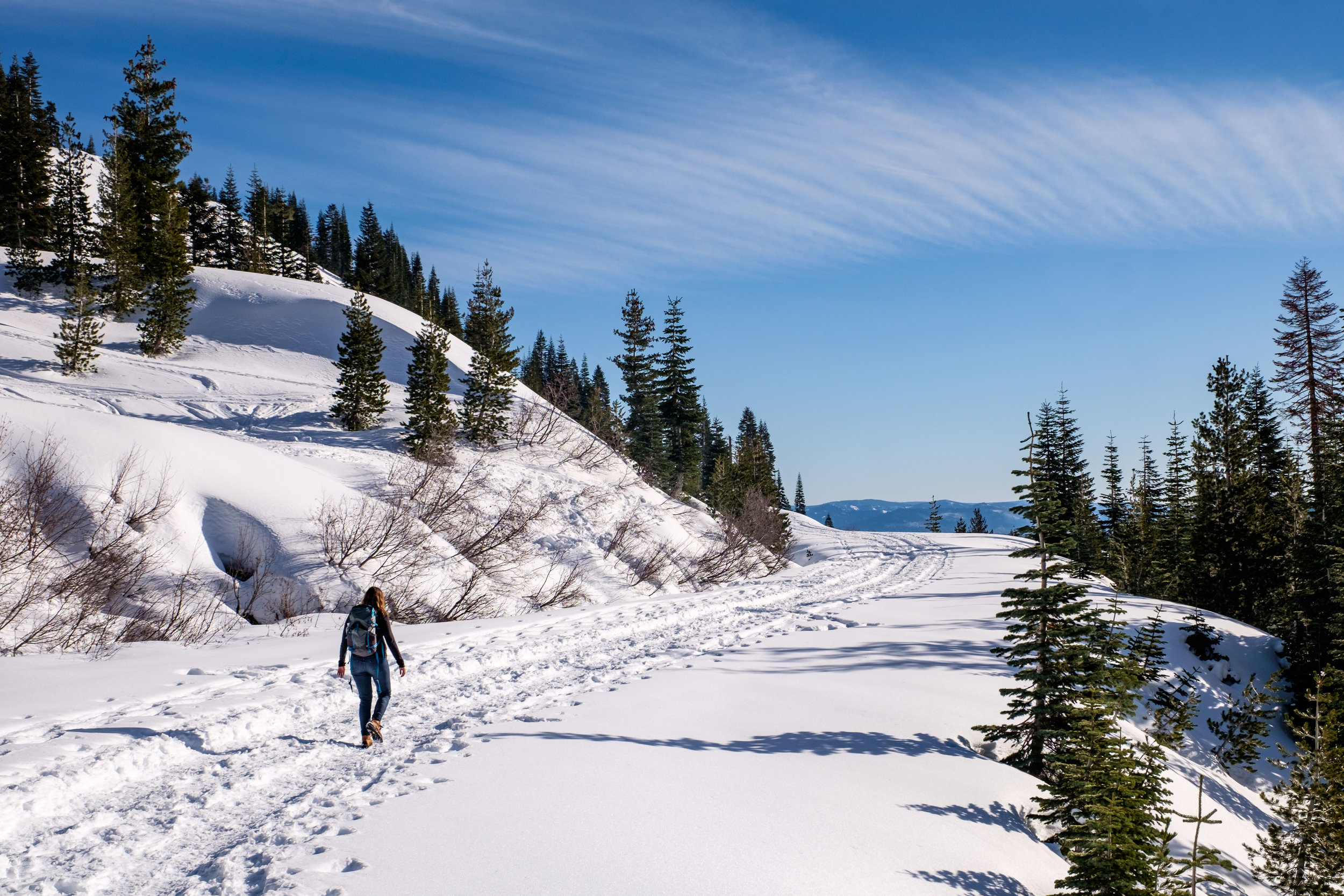 Setting forth on a snow-covered Lassen Volcanic National Park Scenic Highway from the Kohm Yah-mah-nee Visitor Center in Lassen Volcanic National Park.