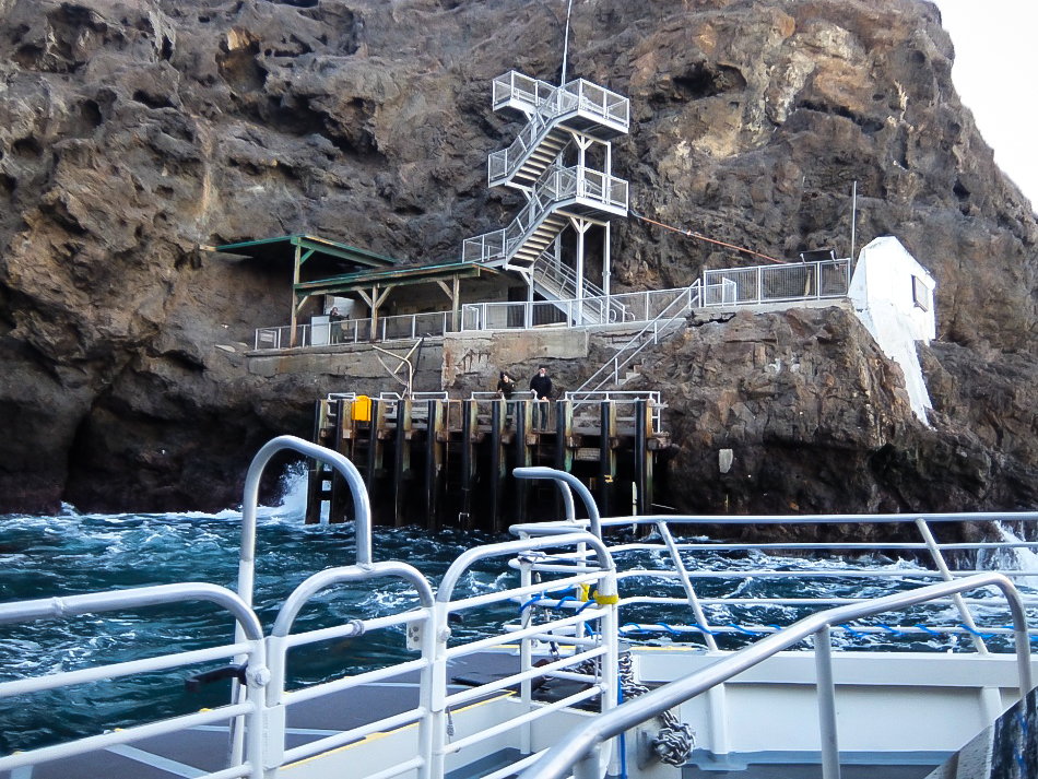 The boat dock at Anacapa Island requires a little effort to climb onto.