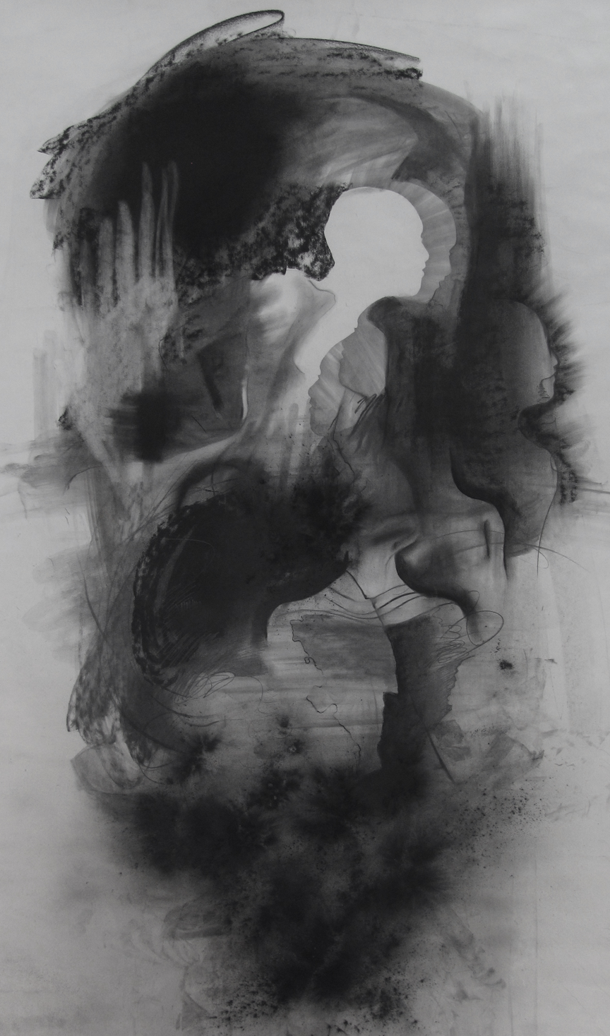 """Cloud  Graphite, charcoal on paper  48""""x6'"""