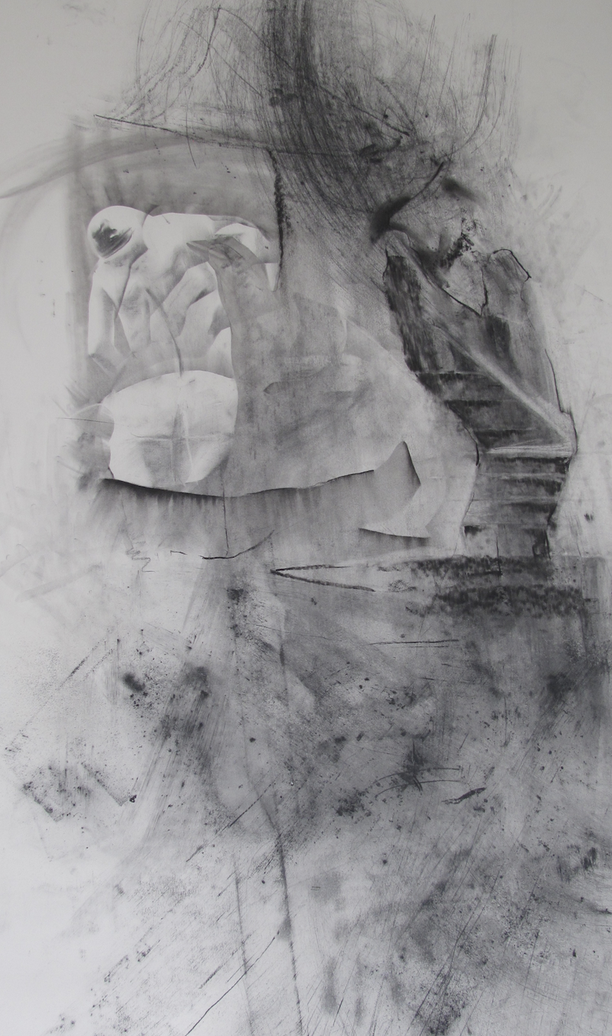 """Stair  Graphite, charcoal on paper  48""""x6'"""