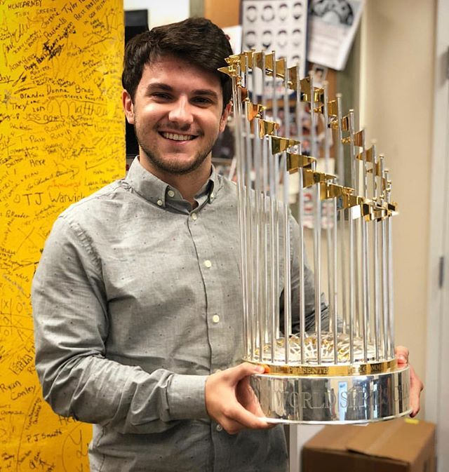 In celebration of the Red Sox winning the 2018 World Series, here is Alumnus Nick Sciarratta, holding THE World Series Trophy! Nick works for the Boston Red Sox and was even able join them in the parade through the streets of Boston today! Let's go Sox!