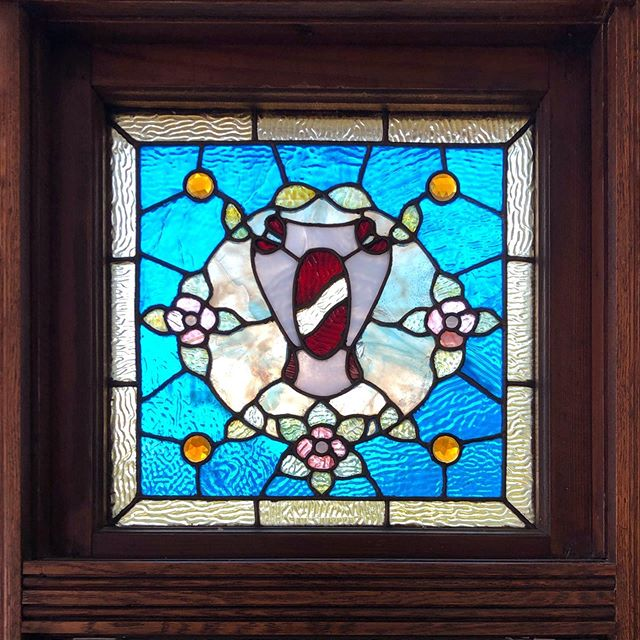 Another window from the Fredrick A. McDonald house in Green Lake. A pair of these flank a central window in the living room.