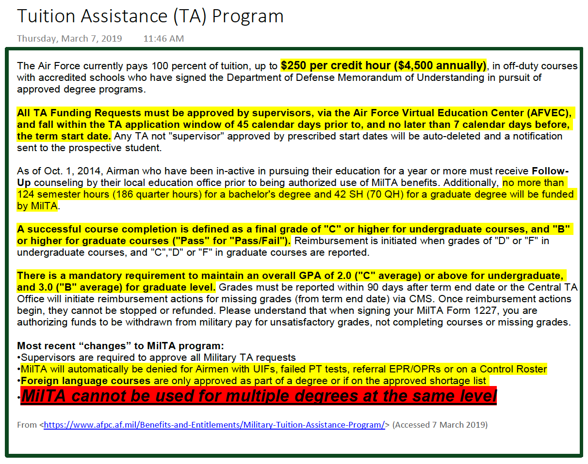 DOD Tuition Assistance (TA) Program