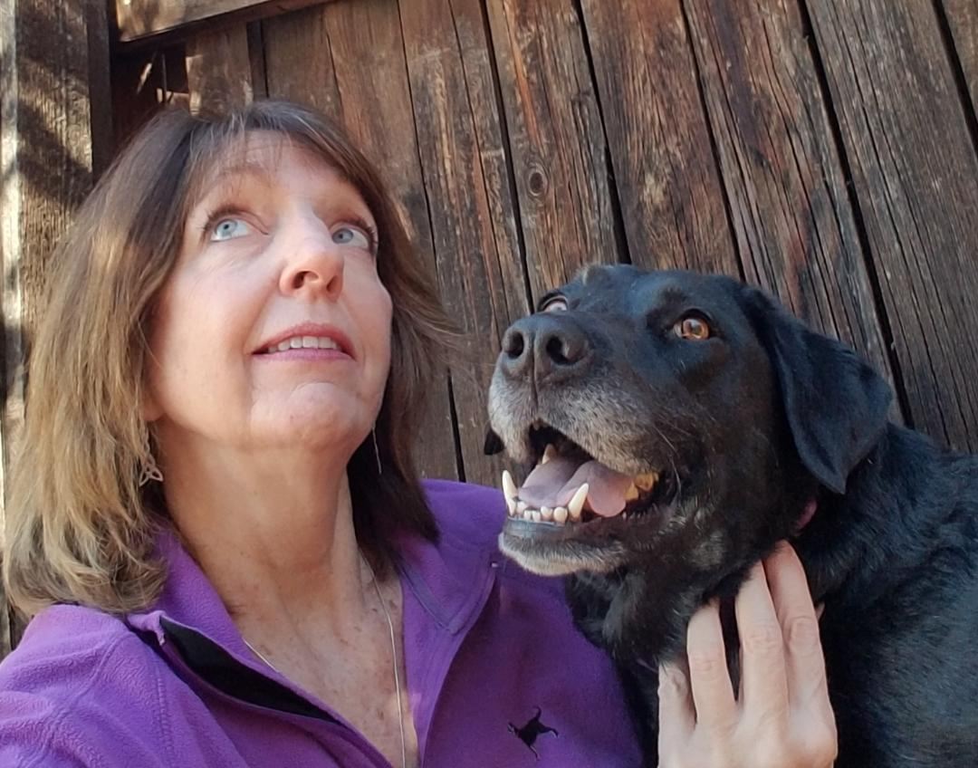 """The newest addition to the Maintain Me team, Julie Donelan, in self-titledpicture """"Squirrel"""". Too funny! Her fur babies Dakota and Tesla in picture below. Look for her full bio in next week's email!"""