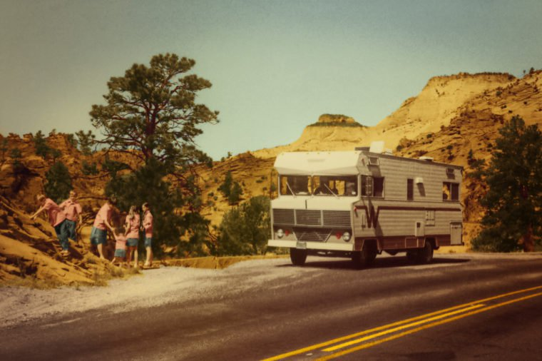 Vacationing with a big family takes patience and imagination. The Cooke family found an ingenious way to keep track of everyone on their motor home trip across America in 1971—matching shirts. These vintage photos prove that childhood fun hasn't changed all that much.   COURTESY JOANNE SCHUELLER COOKE/REMINISCE