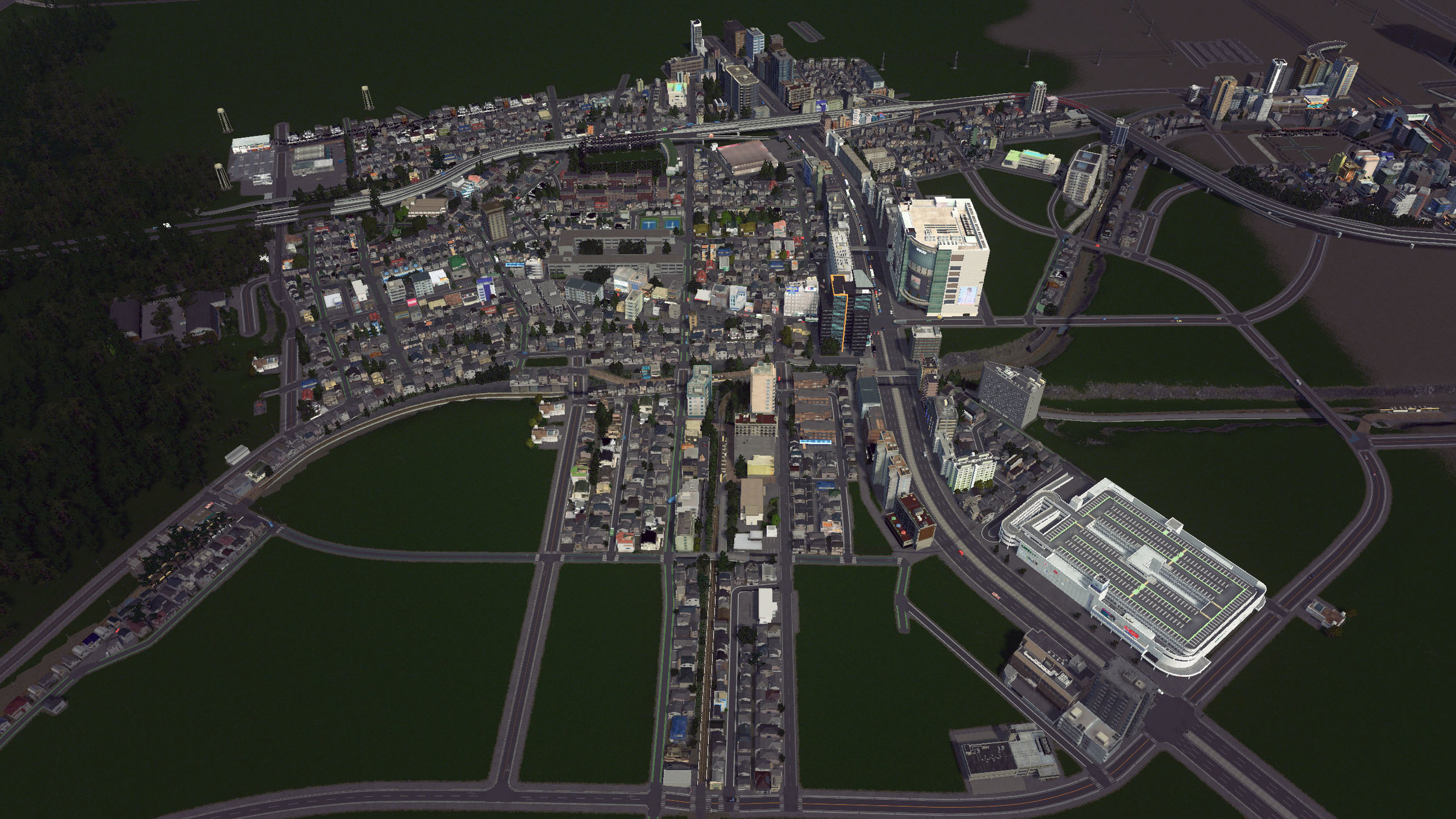 Progress on a Japanese city I'm creating in the PC game Cities: Skylines.