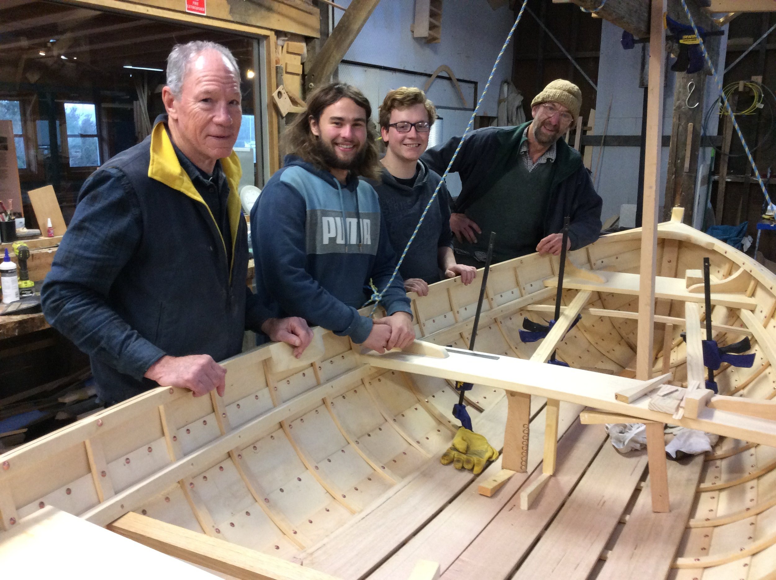 Ray, Jay and Max who were instructed by Pete Laidlaw to build 'Jeanie', Max's rowing dinghy.