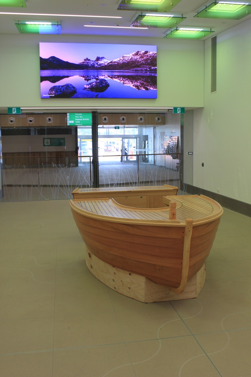 The almost finished counter installed in the arrivals area of Hobart Airport.