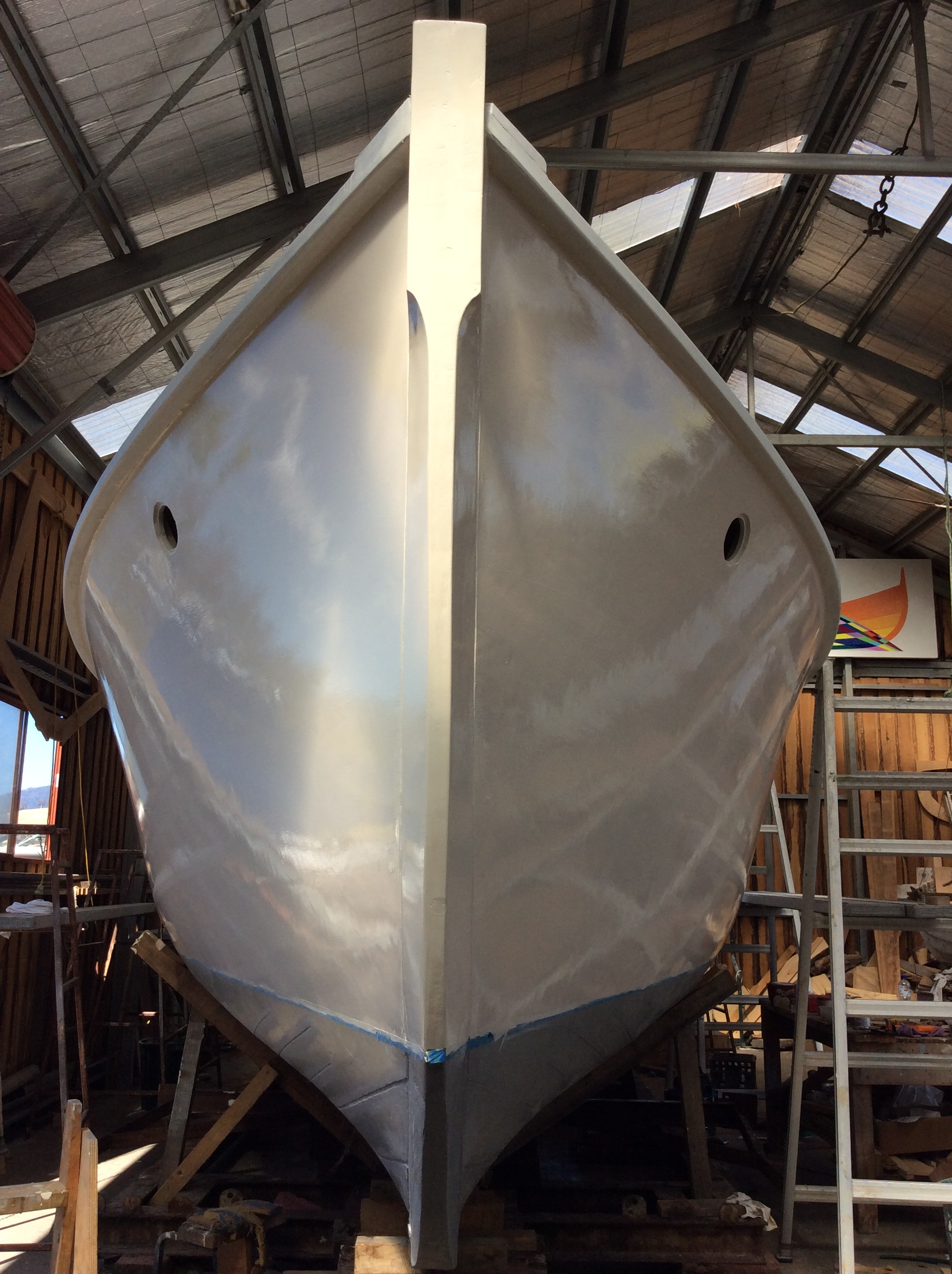 The crane is booked and the painting race is on to get Leshelen back on the water next week.