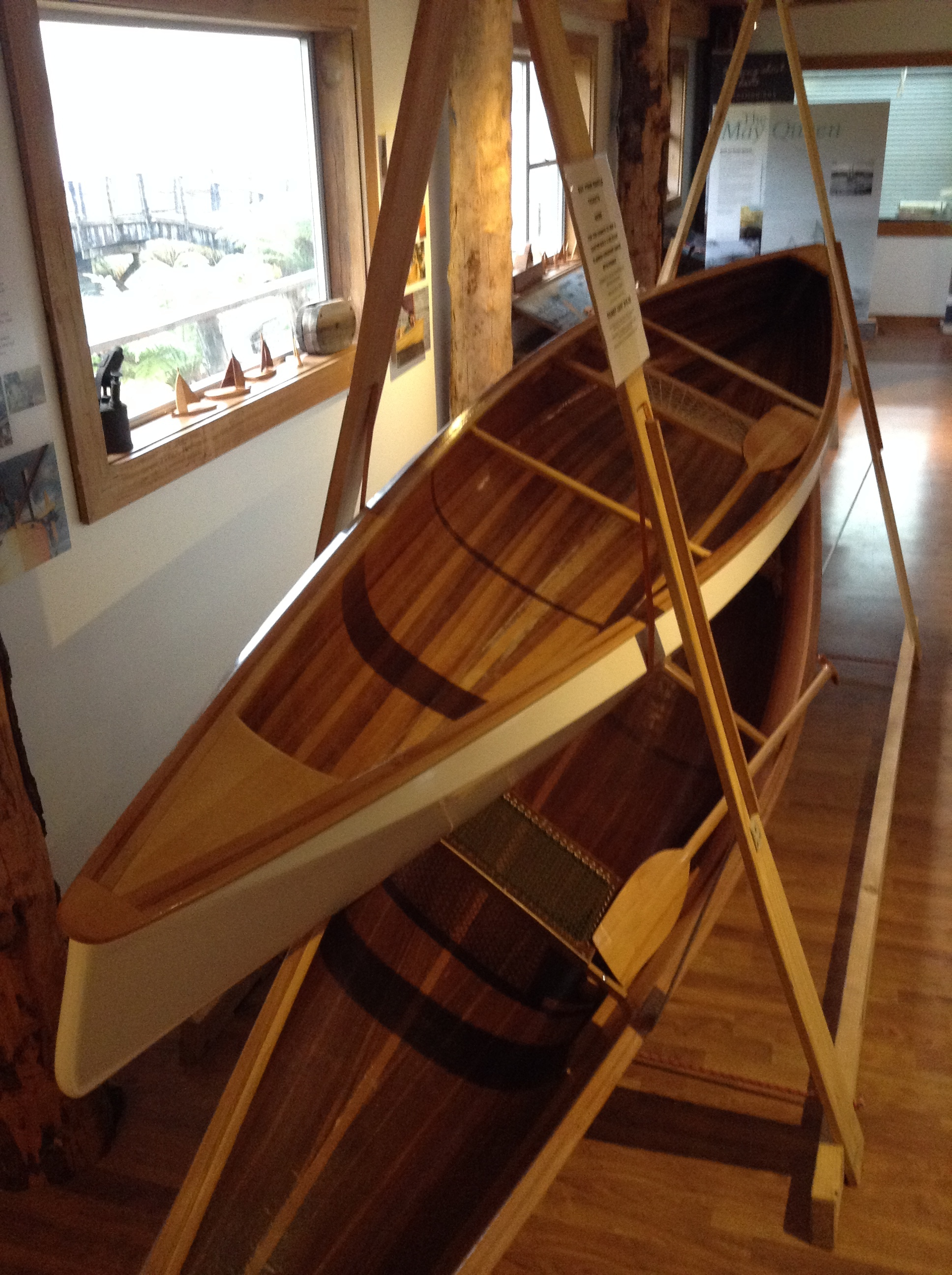 4.5m Strip Planked Canadian Canoe with Paddle