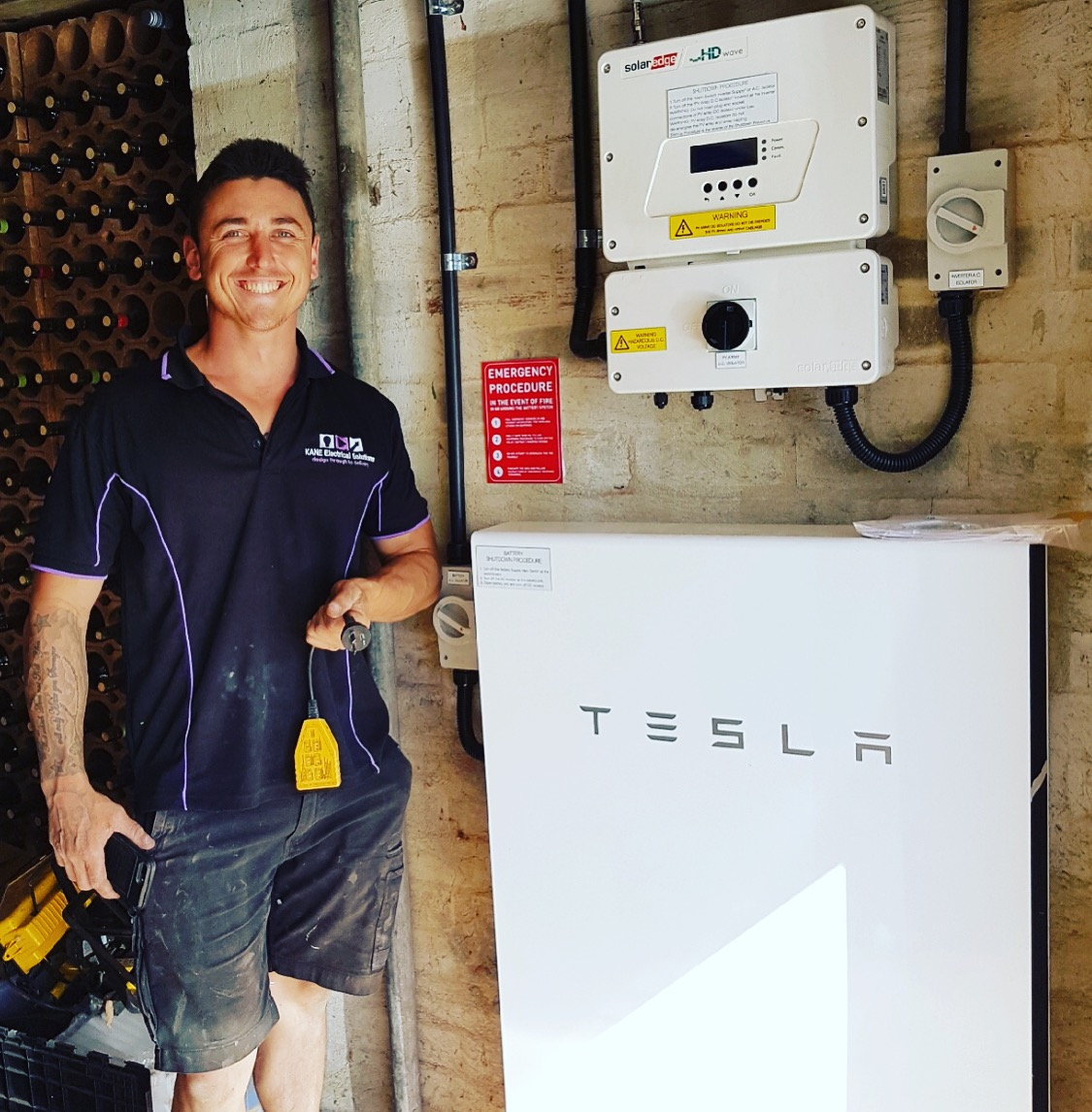 KANE electrical solutions has teamed up with tck solar to deliver a high end solar and battery storage solution, this is tobi on one of our installations on the mornington peninsula.