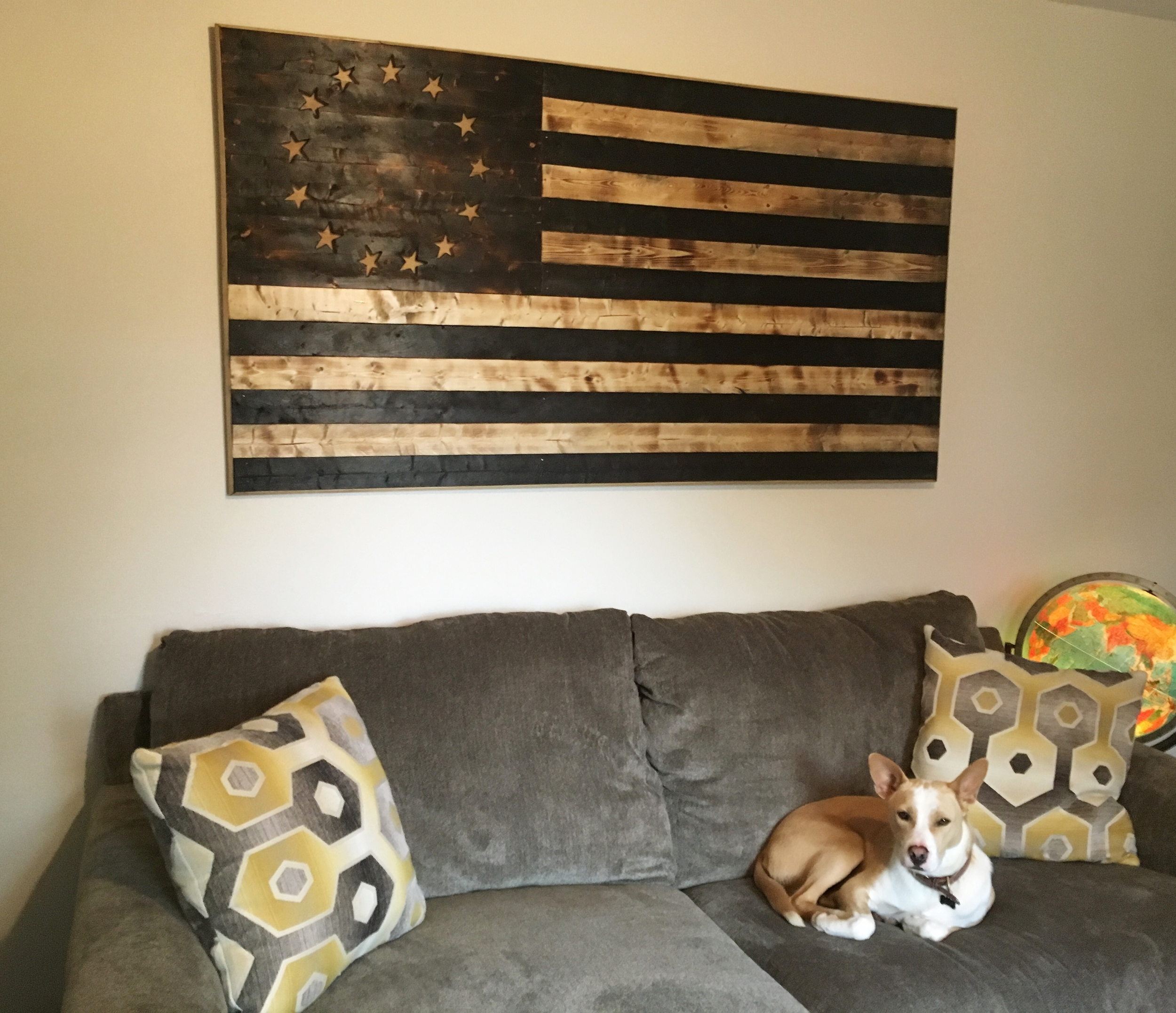 Wood Burnt American Flag.
