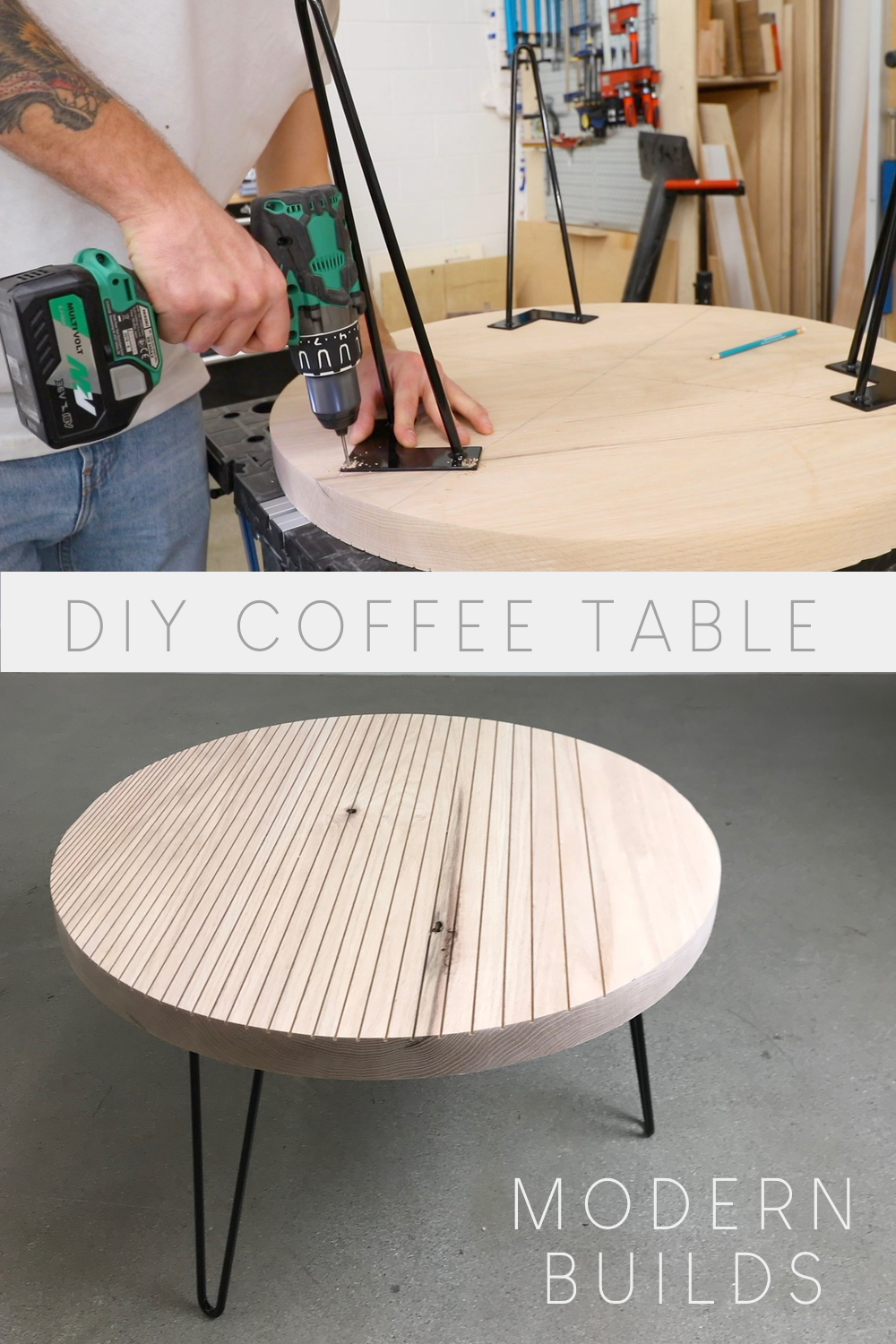 Modern Builds Round Coffee Table with Hairpin Legs | How to