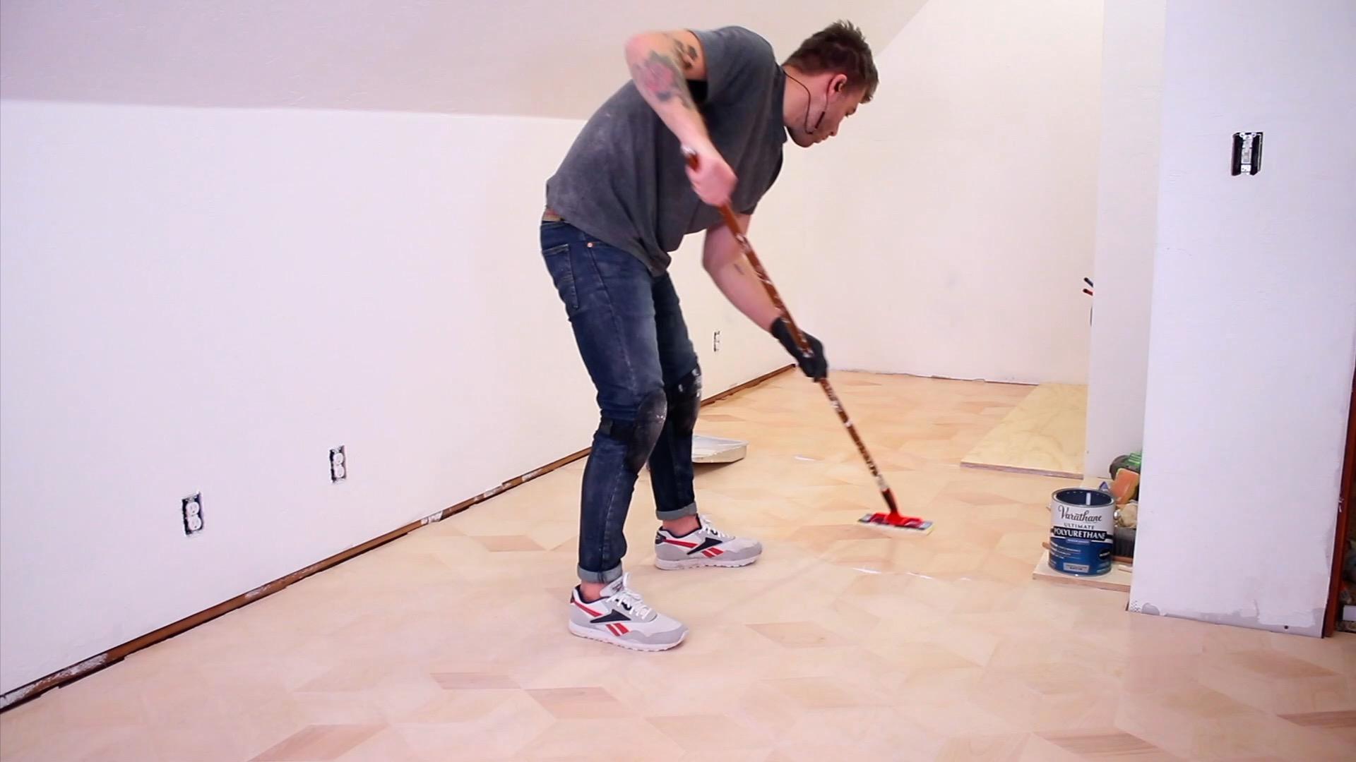Installing Custom Hexagon Plywood Floors water based polyurethane