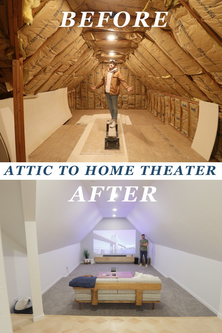 DIY Attic to Home Theater Conversion Youtube Video. Modern Builds