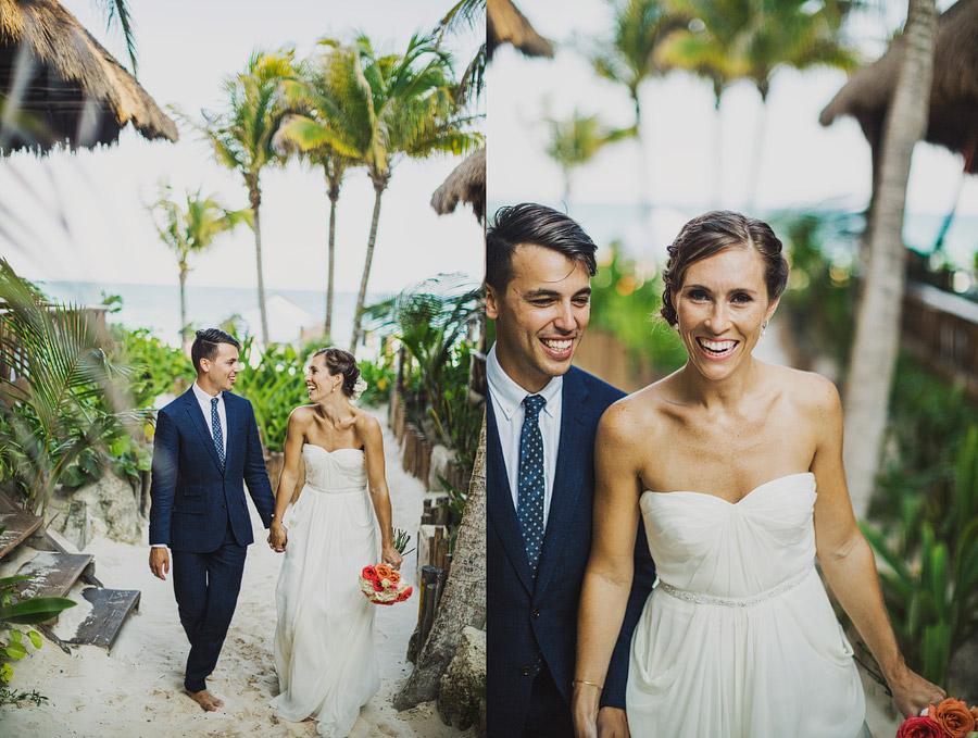 ahau tulum beach destination wedding palm trees coral