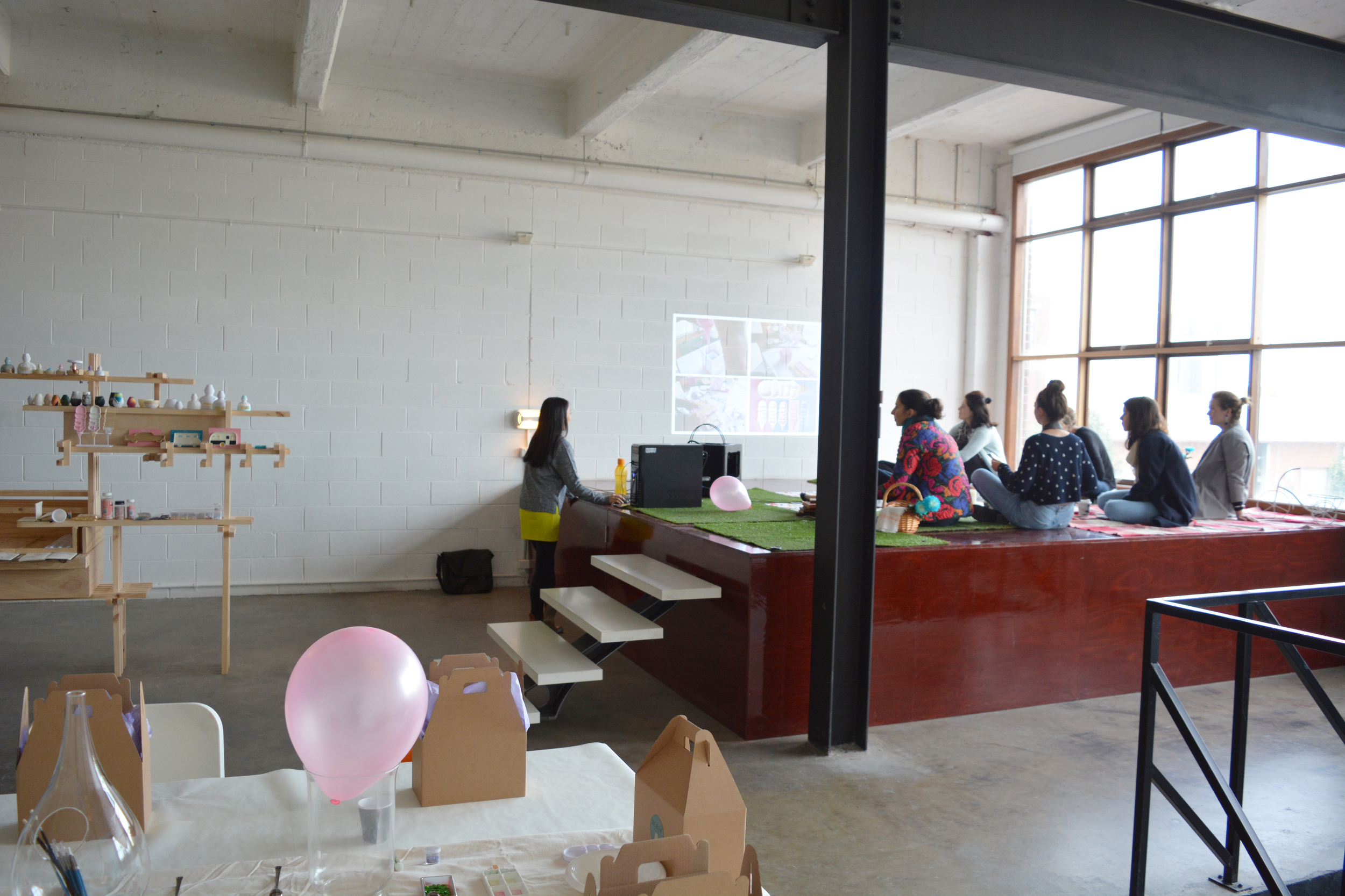 Our first floor space - flexible open space turned into a theme workshop
