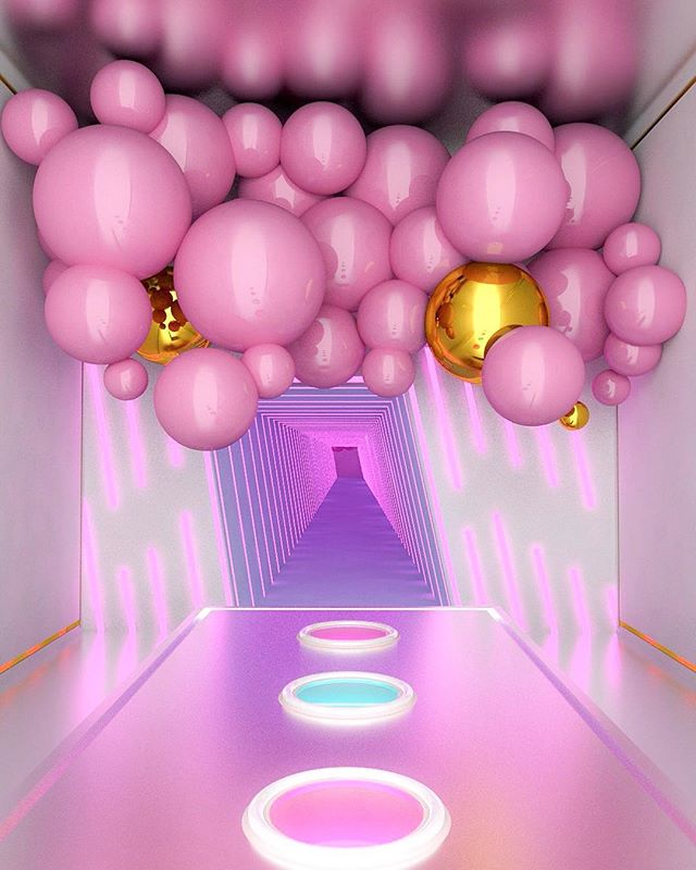 Helllo. My little portal for the last few months.🌂🎒Been working between @superscale_ , @mimaworkshop , @studioochoocho and teaching at @monashinterior . Ahh how time fliessss.💛💖 #mimaw #mimaworkshop #3d #pastel #ball #balloons #neon #portal #interior #visual #graphic #pink #render #architecture #picame #adobe #sweet #handmade #madeinmelbourne #mada