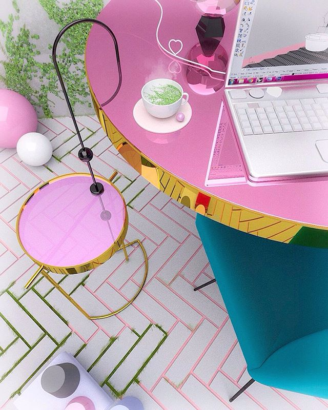 Hello to the 'Urban Confetti' Table. ☕️⚒ When exploration spirits come by, I couldn't resist testing ideas in different scales.  Teaching gets me thinking a lot and it's amazing how one thing leads to another. ⏳💖 . #mimaw #mimaworkshop #3d #urbanconfetti #design #dscolor #dspink #thatsdarling #pink #100dayproject #handmade #table #tiles #vogueliving #interior #myunicornlife #sweet #madeinmelbourne #idea #architecture #furniture
