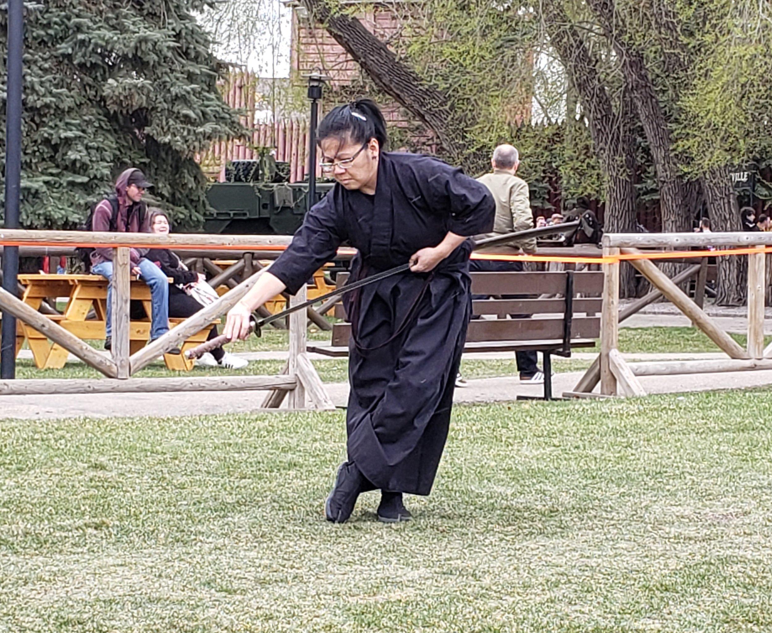 Demonstrating Ukigumo from the Chuden Iaido set (Muso Shinden Ryu) at the 2019 Calgary Expo. Funny thing is, I was supposed to demonstrate Yamaoroshi, but hey - kigurai. Photo credit: Jonathon Wilkes.