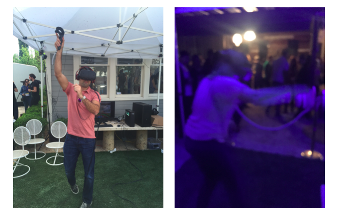 People tested their athletic skills by day (left) and unleashed their creativity at night (right)