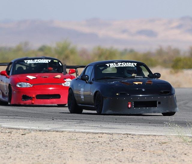 @erikbrenner chasing down @turbonerdphotos at @chuckwallavalleyraceway. Photo credit @caliphotovideo... Tri-Point Engineering delivers on the track proven reliability and results. #tripointmotorsports #tripointmotorsports #teamtripoint #tripointbuilt #adaptronic #rcompoundusa #aprperformance #topmiata #trackmiata