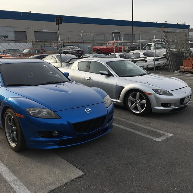 A couple of RX8s are serviced up and ready to go home for the weekend! We're seeing more and more people taking care of their RX8s proper these days which is a refreshing change of pace! #mazda #rx8 #rotary #renesis #noboost #service #maintenance #preventativemaintenance