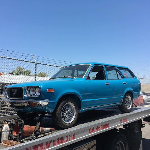 Not everyday you get to see one of these. Mazda RX3 wagon towed in for some engine work. Looking forward to getting it running smoothly and back on the streets. #mazda #RX3 #rotary #rotaryengine #wankel #brap #12arotary