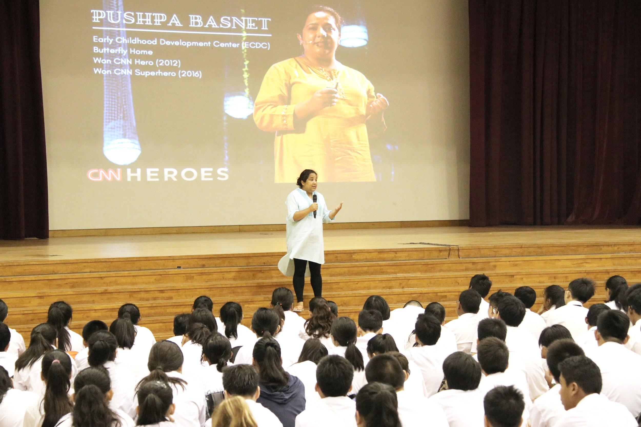 CNN Superhero, Pushpa Basnet sharing her story of hope and compassion to students of Outram Secondary School.