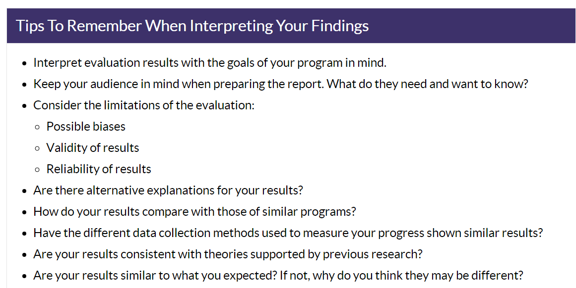 From the Center for Disease Control's    Program Evaluation  Guide