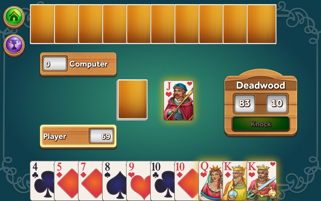 Gin Rummy by Random Salad Games, recommended app for people living with dementia