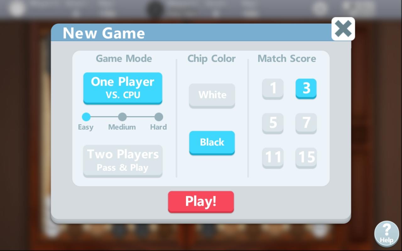 Backgammon by Banana & co , showing game settings menu
