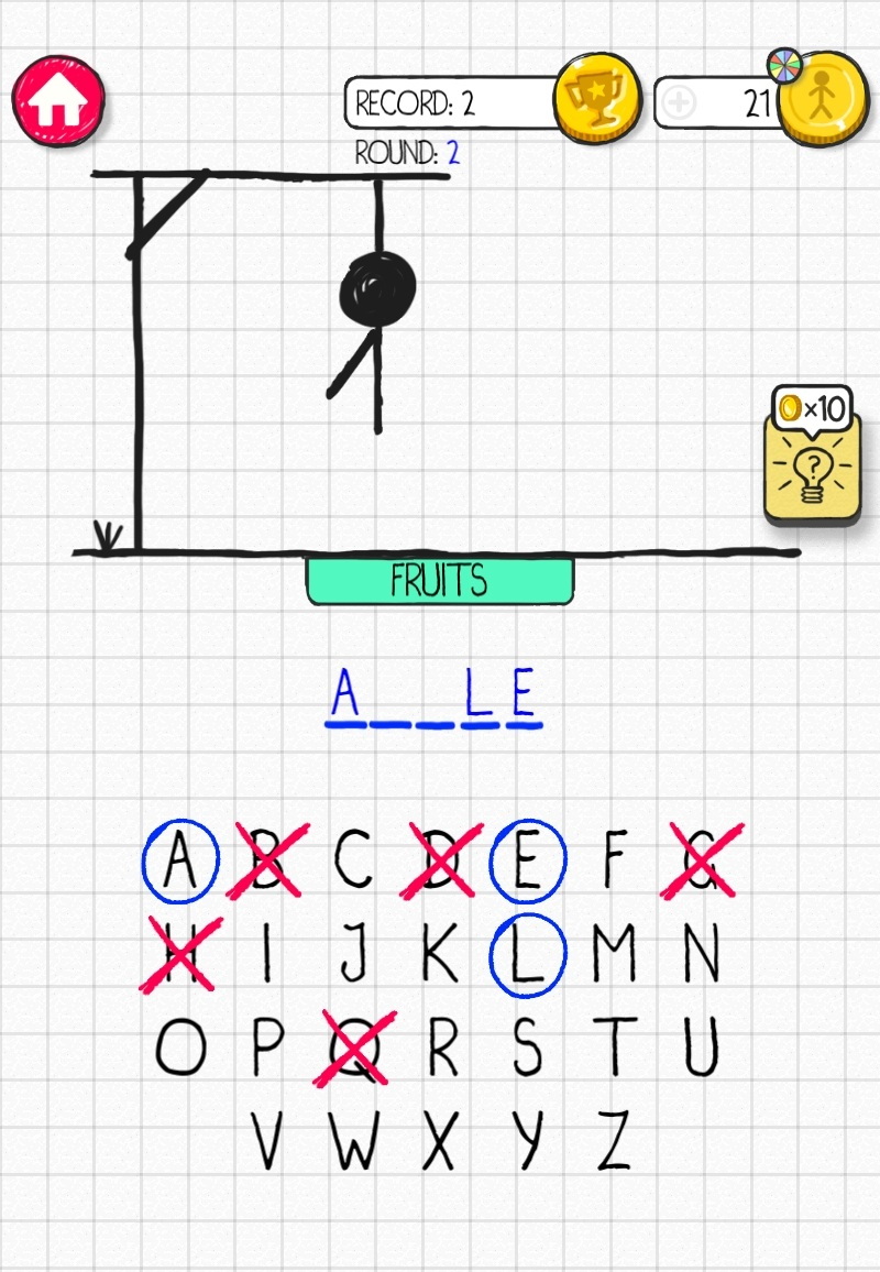 Hangman by Senior Games, recommended app for people living with dementia