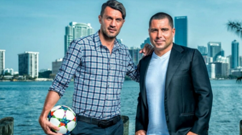 Paolo Maldini (left) and  Riccardo Silva (right).