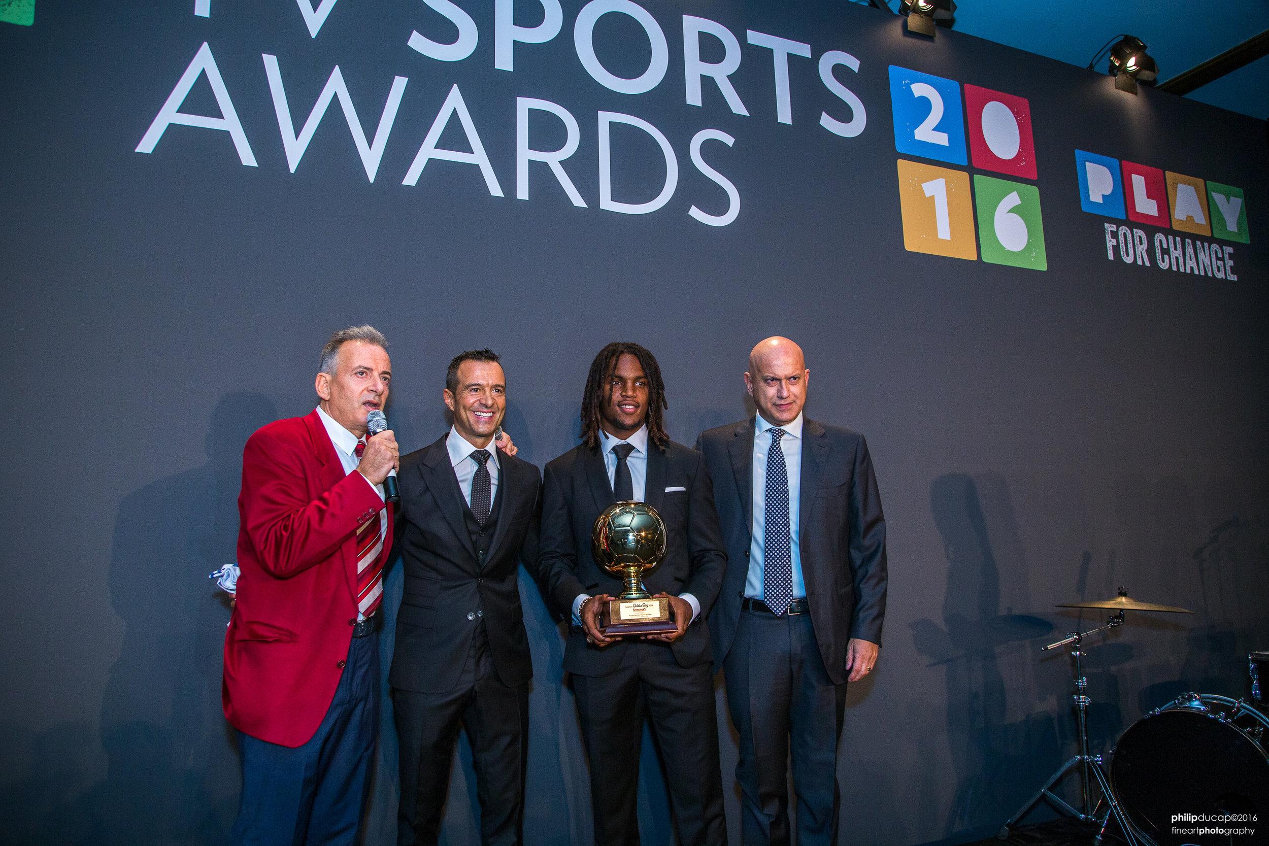 Renato Sanches receiving his Golden Boy Award