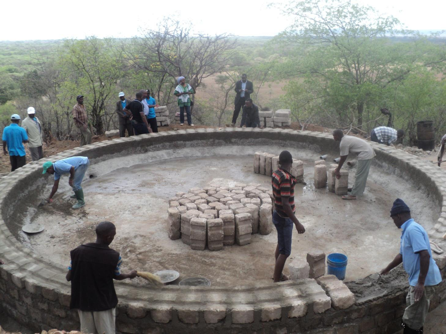 Construction of a ground tank, WaterAid