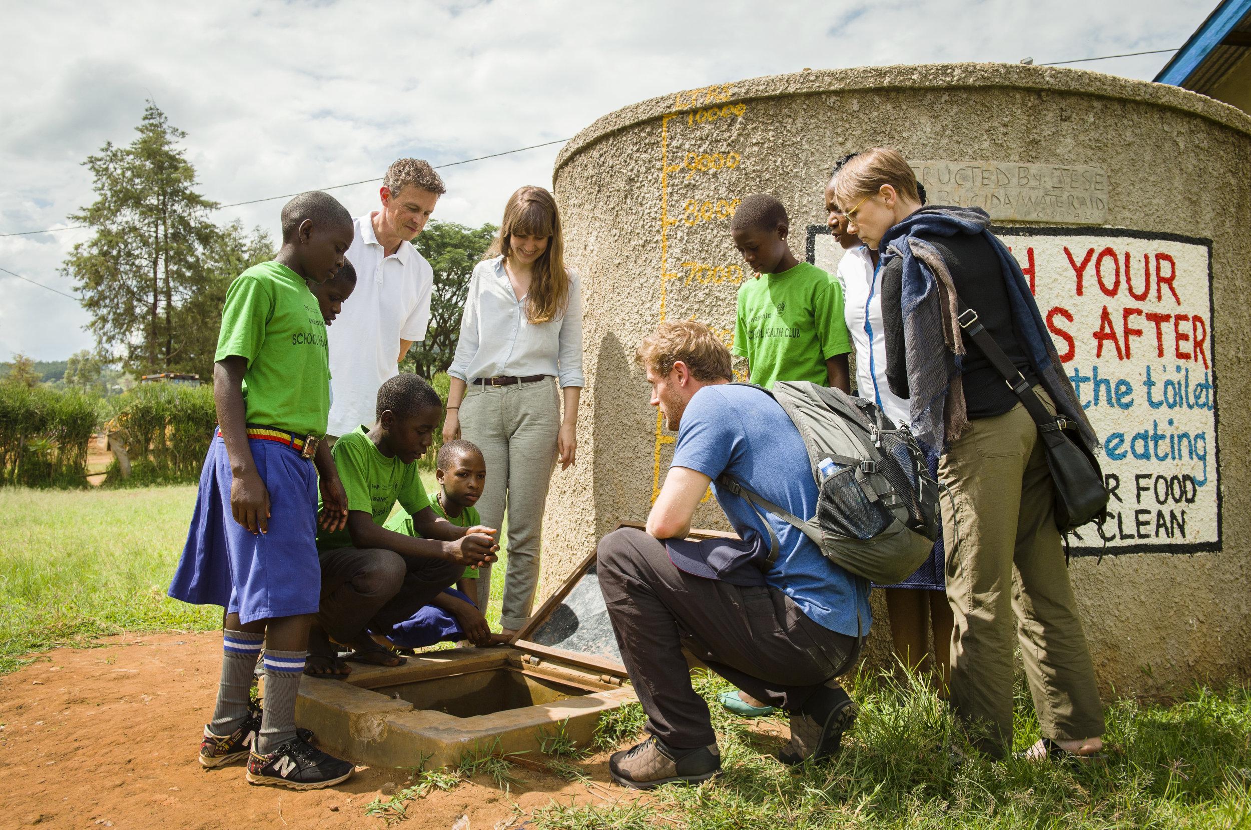 The water tank and toilet blocks at Rwentuuha Primary School, Uganda