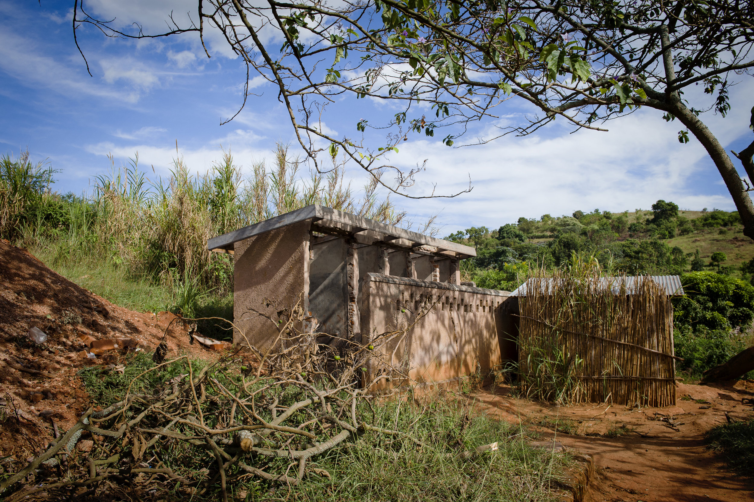 Old toilet blocks at Kikoda Primary school, which had collapsed during heavy rainfall