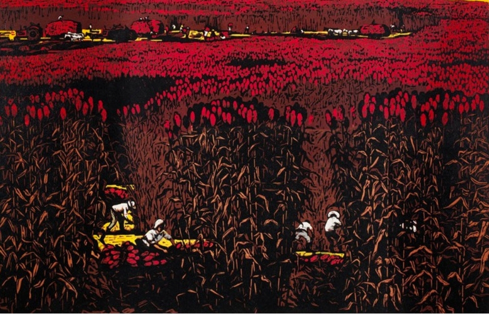 The point at which the audience gave a collective wow: Chao Mei 晁楣 (b. 1931), September in the North, 1963. Multiblock woodcut, oil-based inks on paper. Muban Educational Trust.