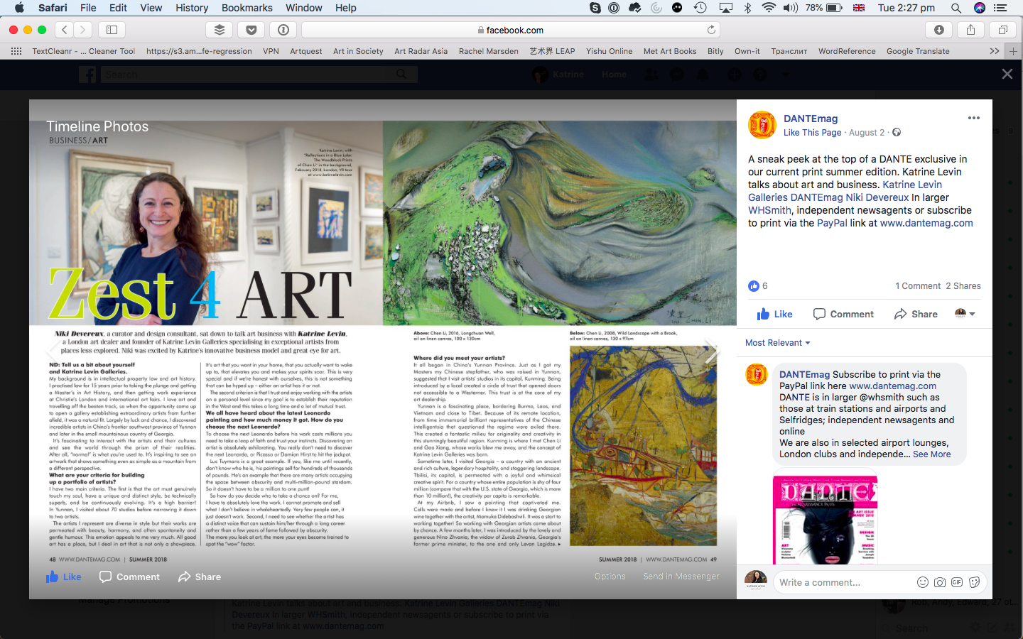 A huge thanks to Dante Magazine for featuring my gallery and thoughts about art business in their summer 2018 print edition! This is just a sneak peak.