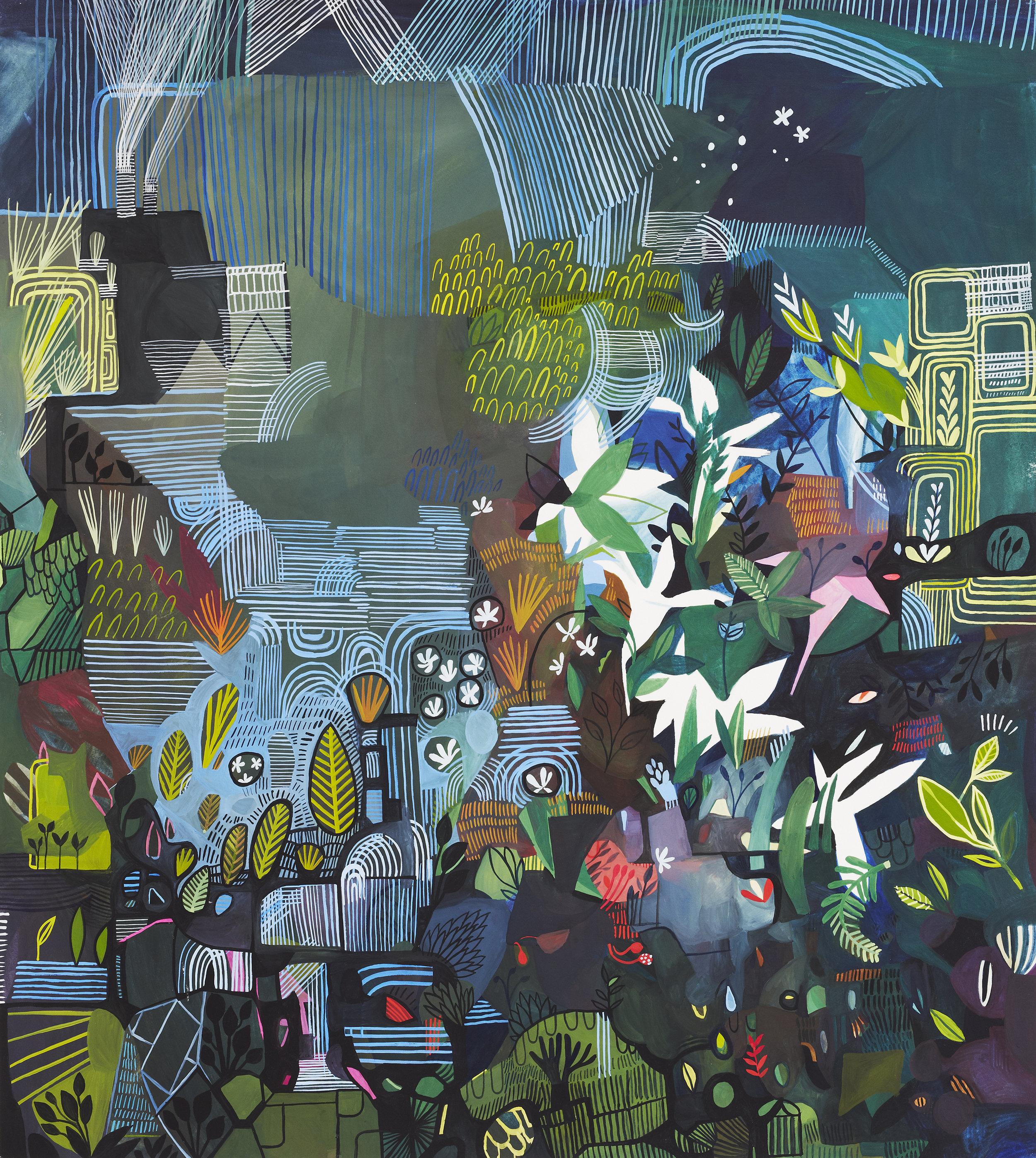 'Pond & Plants' / 2017 / Gouache on paper