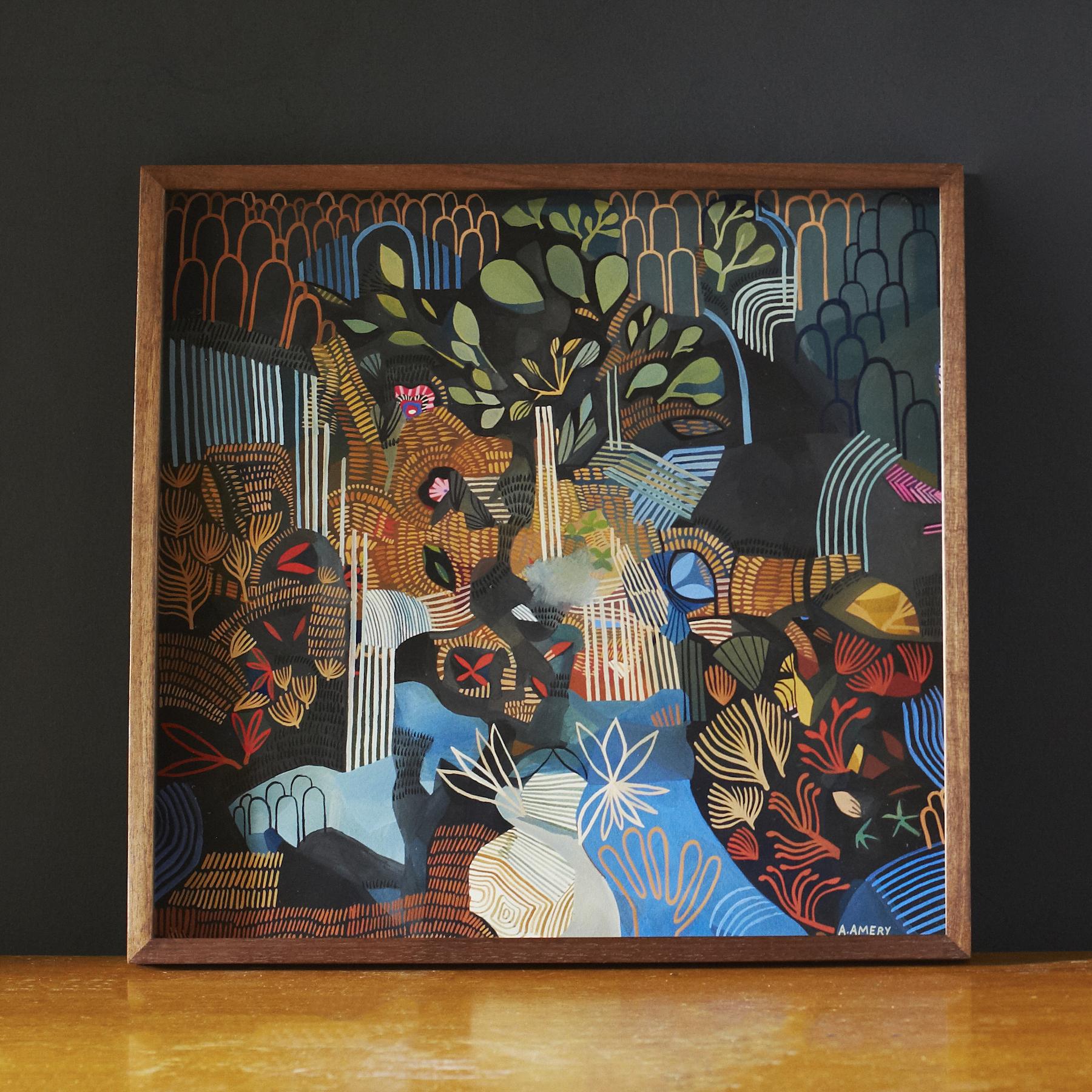 'Night Waterfalls',Ashley Amery,2018,40 x 42 cm,Gouache on paper