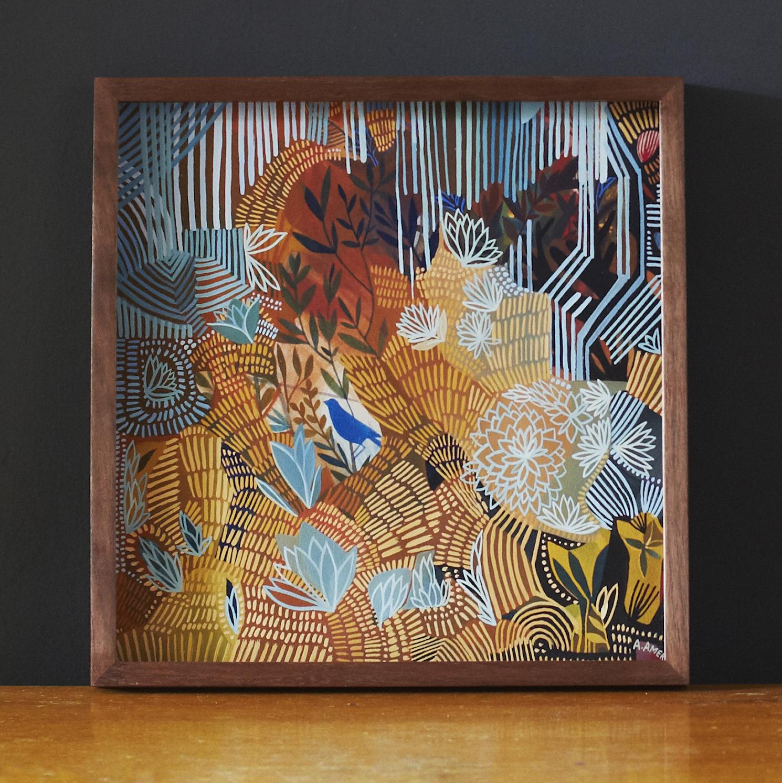 'Blue Bird',Ashley Amery,2018,28 x 28.5,Gouache on paper
