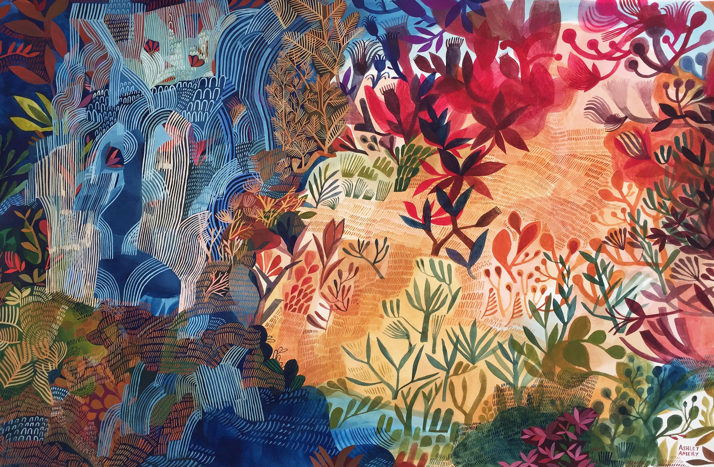 ''Desert Shore' / Ashley Amery / 2019 / 102 x 67 cm / Gouche on Paper
